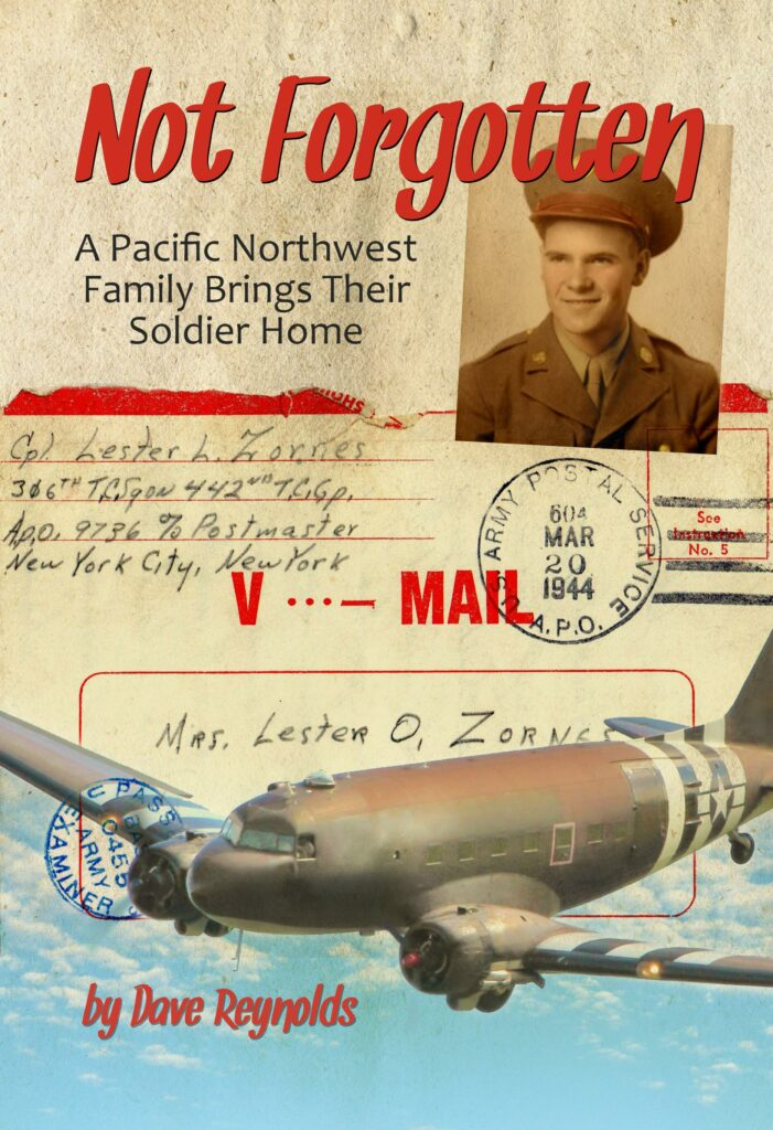 Image shows cover of book with photo of young man in military uniform over a V-mail letter and photo of C-47 transport plane